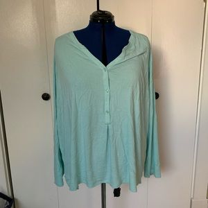 Ava & Viv mint long sleeve blouse